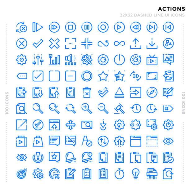 ilustraciones, imágenes clip art, dibujos animados e iconos de stock de discontinua de contorno pack de iconos para la interfaz de usuario. icono de vector pixel línea delgada perfecta para aplicación web de diseño y página web. - zoom call