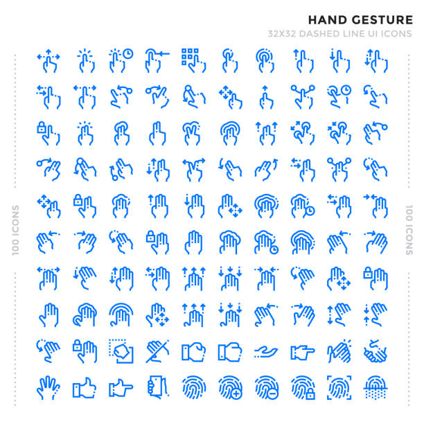dashed outline icons pack for ui. pixel perfect thin line vector icon set for web design and website application. - znak ręką stock illustrations