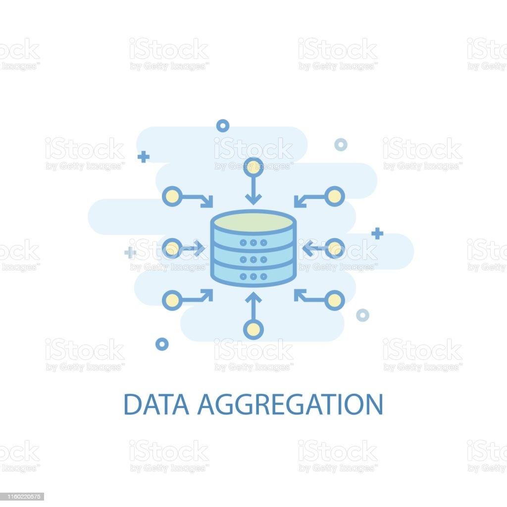 Data Aggregation line trendy icon. Simple line, colored illustration....