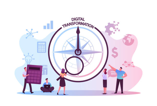 Data Analysis and Digitization Concept, Digital Transformation or Disruption, Financial Statistics, Big Data or Performance Measuring. Tiny Characters and Compass. Cartoon People Vector Illustration Data Analysis and Digitization Concept, Digital Transformation or Disruption, Financial Statistics, Big Data or Performance Measuring. Tiny Characters and Compass. Cartoon People Vector Illustration digitized stock illustrations