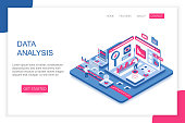 Data Analysis, big data analytics modern 3d isometric vector landing page template. People interacting with virtual screen charts and analyzing statistics