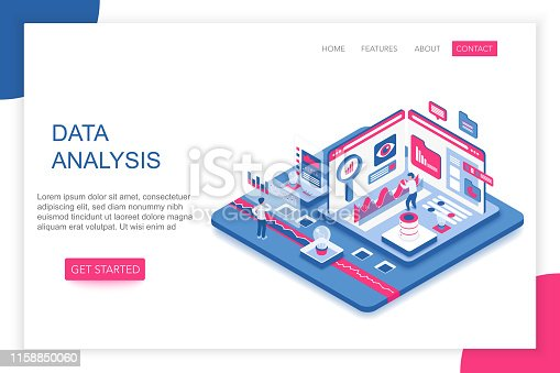 istock Data Analysis, big data analytics modern 3d isometric vector website landing page template. People interacting with virtual screen charts and analyzing statistics. 1158850060