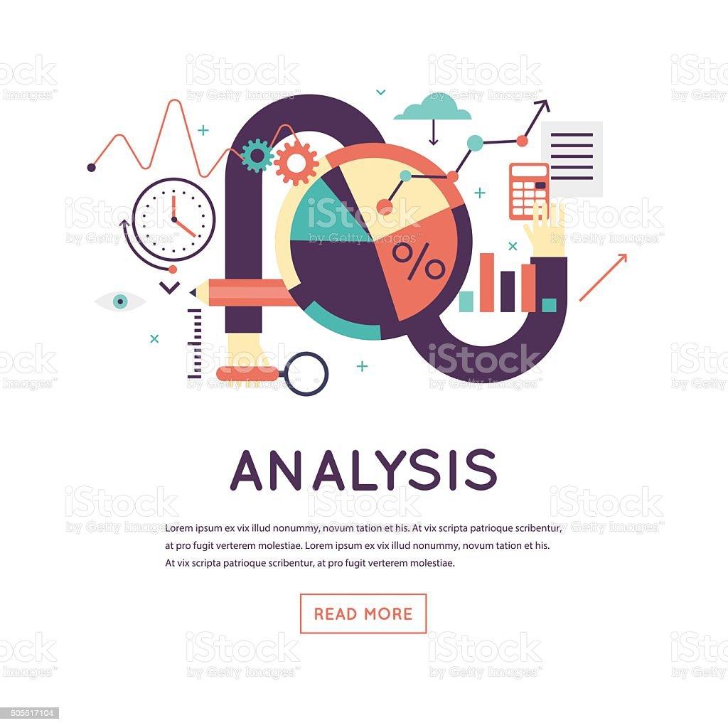 L'analyse de données, d'un graphique de statistiques, financiers à la recherche. - Illustration vectorielle