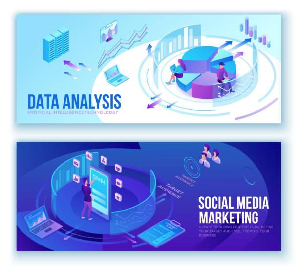 Datenanalyse, Business People analysieren Diagramme, kpi Analytics, digitale Technologie in der Finanzbranche, Social Media Marketing Banner set Konzept, große Forschung isometrische Illustration, Teamwork 3D Hintergrund – Vektorgrafik