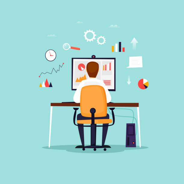 Datenanalyse, Geschäftsmann, arbeiten am Computer, Büro, Arbeitsplatz. Flaches Design-Vektor-Illustration. – Vektorgrafik