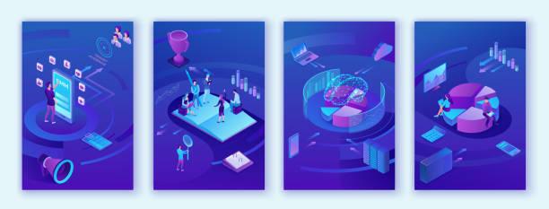 Datenanalysezentrum, Geschäftsleute analysieren Diagramme, kpi-Analysen, digitale Technologie im Finanzwesen, KI-Konzept, große isometrische vertikale mobile Vorlage für Forschung, Teamwork 3D-Hintergrund – Vektorgrafik
