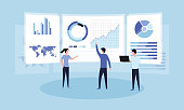 istock Data analysis concept. Teamwork of business analysts on holographic charts and diagrams of sales management statistics and operational reports, key performance indicators. Flat vector illustration 1187418736