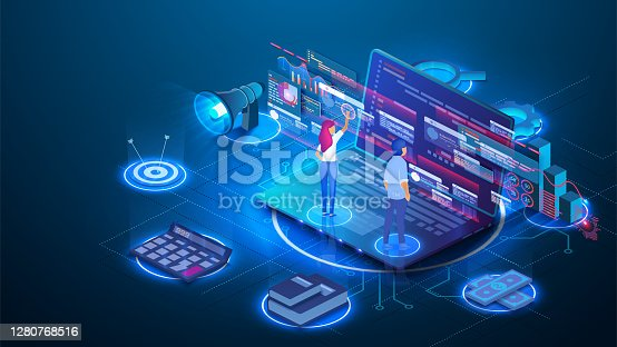 istock Data analysis concept. Teamwork of business analysts on holographic charts and diagrams of sales management statistics and operational reports. Can use for web banner, infographics. Vector isometric 1280768516