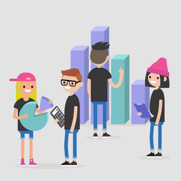 Data analysis conceptual illustration. International millennial team. Flat editable vector, clip art Data analysis conceptual illustration. International millennial team. Flat editable vector, clip art millennial generation stock illustrations