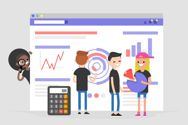 illustrazioni stock, clip art, cartoni animati e icone di tendenza di data analysis conceptual illustration. young character standing in front of the browser with charts and infographics. information. international millennial team. flat editable vector, clip art - gen z