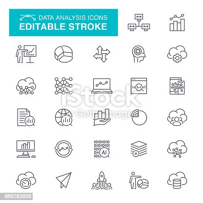 Graph and Diagram, Charts, Traffic Analysis, Big Data, Editable Stroke Icon Set