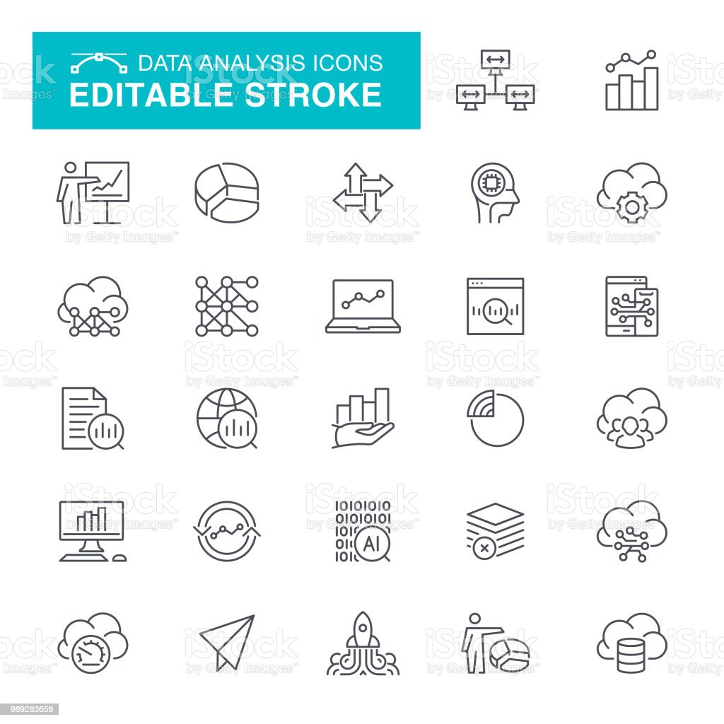 Data Analysis Editable Stroke Icons vector art illustration