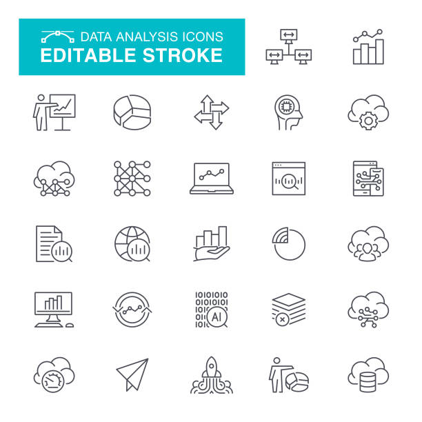 illustrazioni stock, clip art, cartoni animati e icone di tendenza di data analysis editable stroke icons - icona line