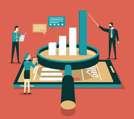 Data Analysis Flat Isometric Vector Concept Stock Illustration - Download Image Now