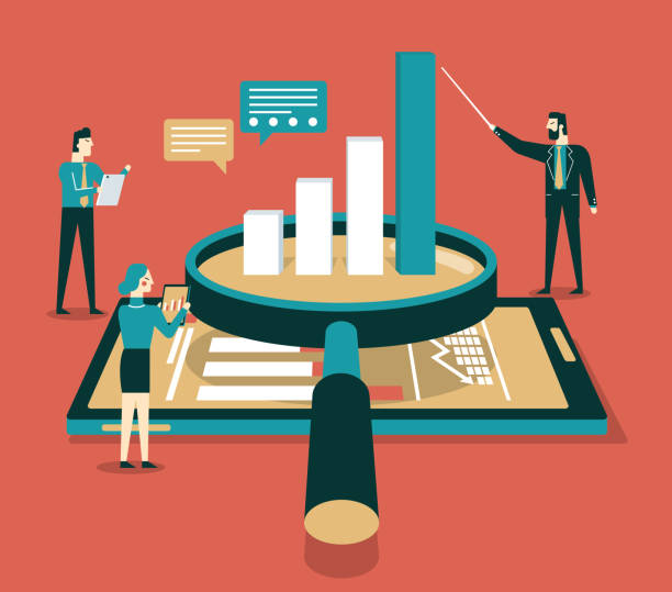 data analysis flat isometric vector concept - research infographics stock illustrations
