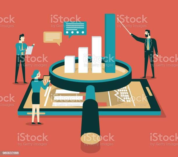 Daten Analyse Flache Isometrische Vektorkonzept Stock Vektor Art und mehr Bilder von Analysieren