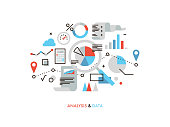 Thin line flat design of business graph statistics, big data analysis, global seo analytics, financial research report, market stats. Modern vector illustration concept, isolated on white background.