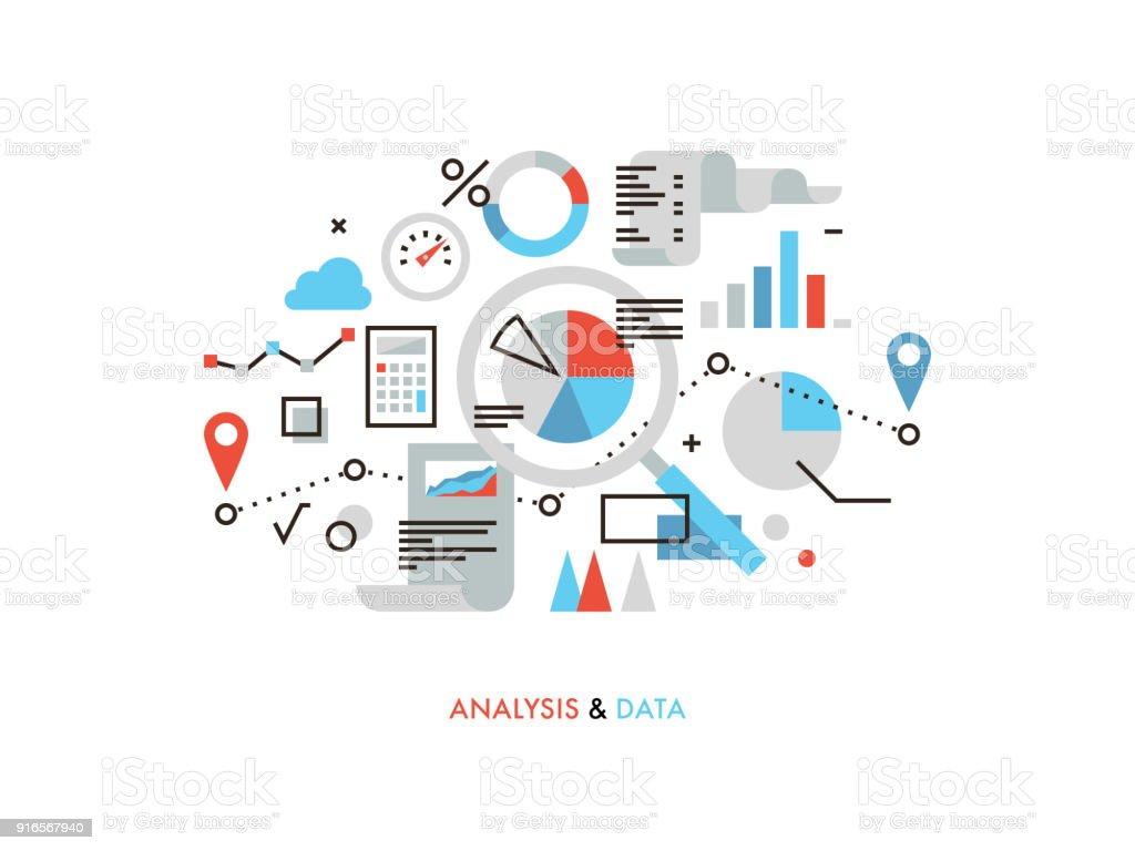 Data analysis flat line illustration vector art illustration