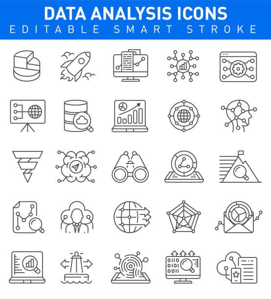 ilustraciones, imágenes clip art, dibujos animados e iconos de stock de iconos de análisis de datos. movimiento editable - planificación financiera