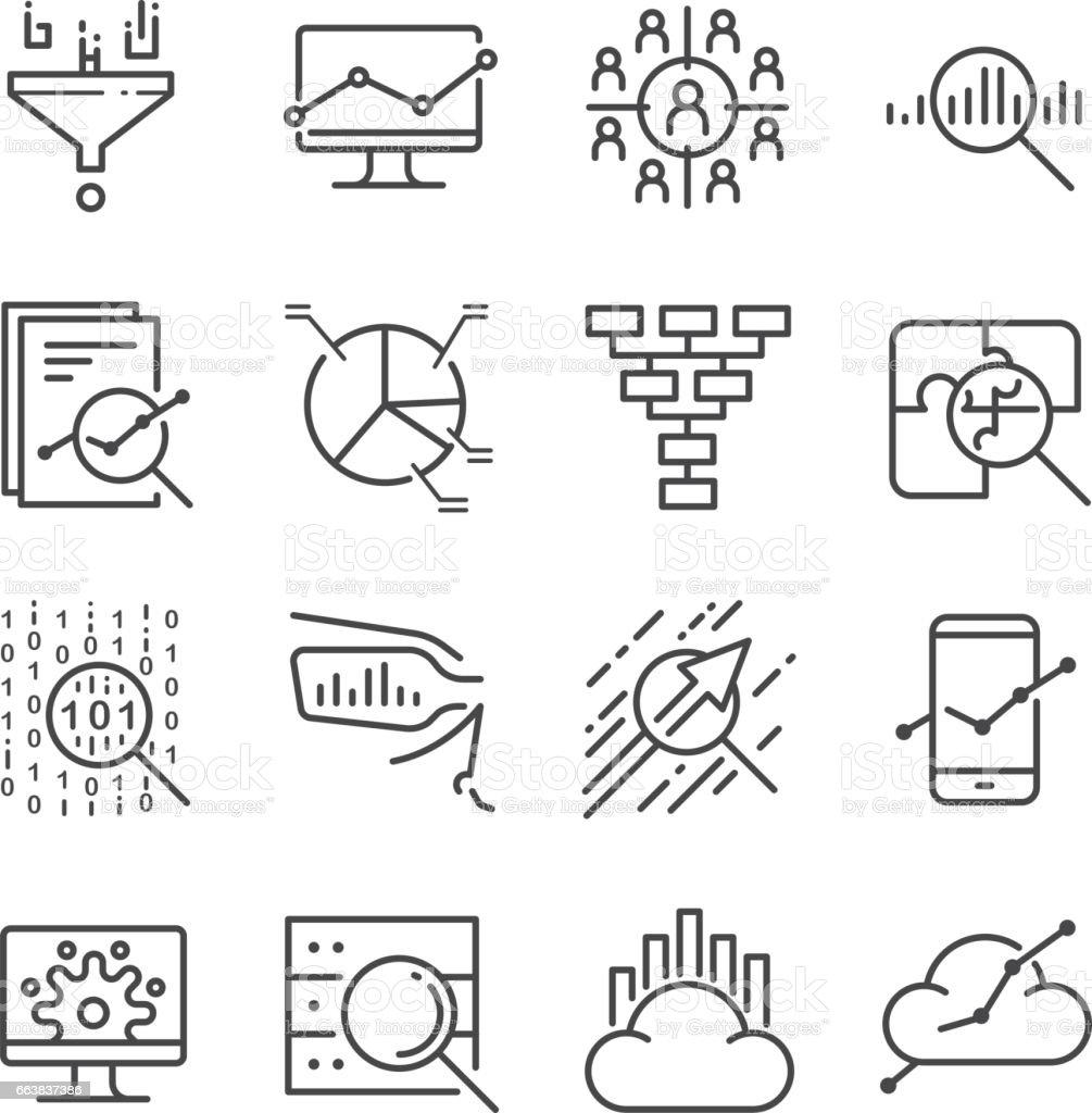 Data Analysis icons set vector art illustration