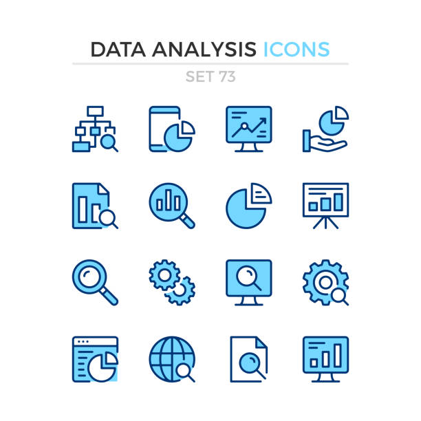 Data analysis icons. Vector line icons set. Premium quality. Simple thin line design. Modern outline symbols collection, pictograms. Data analysis icons. Vector line icons set. Premium quality. Simple thin line design. Modern outline symbols collection, pictograms. blue icons stock illustrations