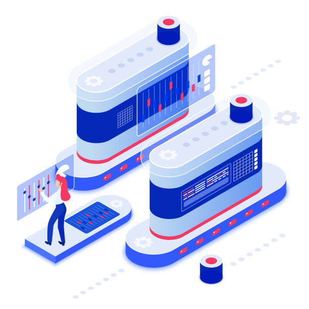 Data analysis isometric vector illustration Data analysis isometric vector illustration. Server administration. Database maintenance. Mechanical attendance. Mechanical hardware. Computing technology. Datacenter cartoon conceptual design element administrate stock illustrations