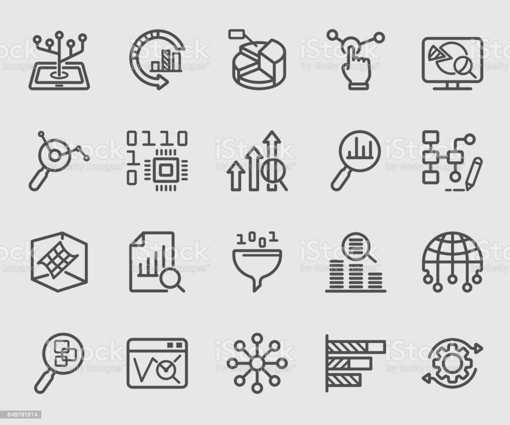 Data analysis line icon – artystyczna grafika wektorowa