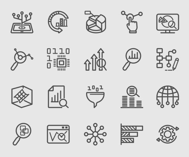 data analysis line icon - крупный план stock illustrations