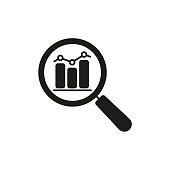 istock Data analysis line icon with business graph or chart with magnifier. 1172550193
