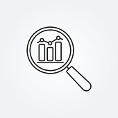 istock Data analysis line icon with business graph or chart with magnifier. 1172550297