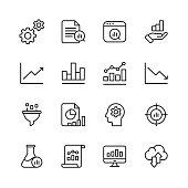 16 Data Analysis Outline Icons.