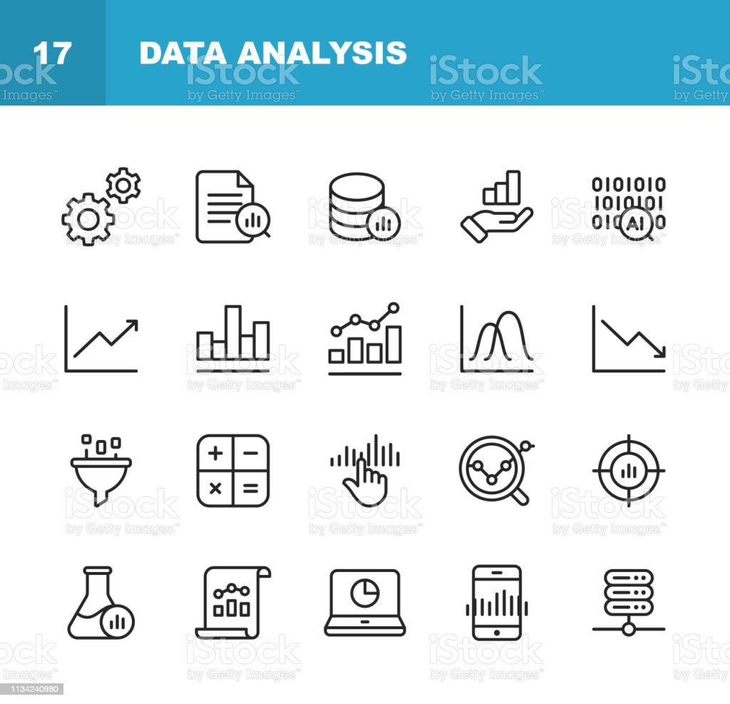 Data Analysis Line Icons. Editable Stroke. Pixel Perfect. For Mobile and Web. Contains such icons as Settings, Data Science, Big Data, Artificial Intelligence, Statistics. 20 Data Analysis Line Icons. Advice stock vector