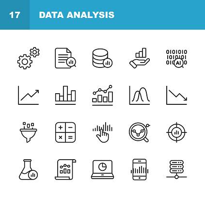 Data Analysis Line Icons. Editable Stroke. Pixel Perfect. For Mobile and Web. Contains such icons as Settings, Data Science, Big Data, Artificial Intelligence, Statistics.