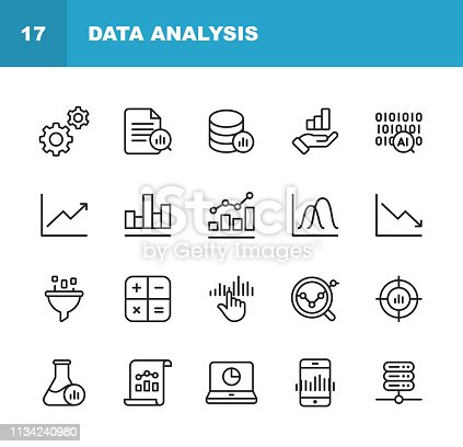 istock Data Analysis Line Icons. Editable Stroke. Pixel Perfect. For Mobile and Web. Contains such icons as Settings, Data Science, Big Data, Artificial Intelligence, Statistics. 1134240980