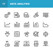 20 Data Analysis Line Icons.