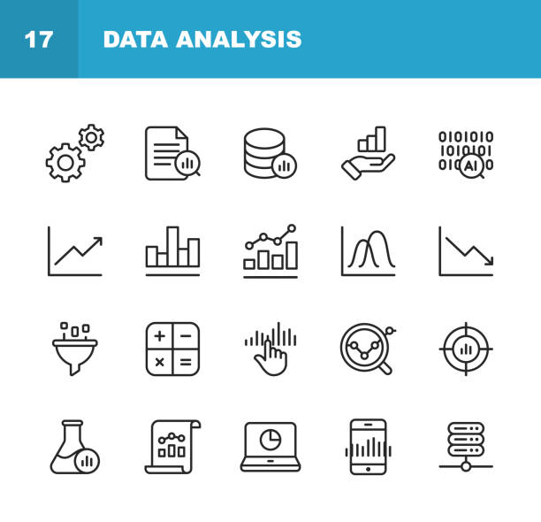 data analysis line icons. editable stroke. pixel perfect. for mobile and web. contains such icons as settings, data science, big data, artificial intelligence, statistics. - dane giełdowe stock illustrations