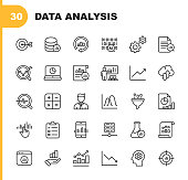 istock Data Analysis Line Icons. Editable Stroke. Pixel Perfect. For Mobile and Web. Contains such icons as Artificial Intelligence, Big Data, Cloud Computing, Chart, Business Analyst. 1138034604