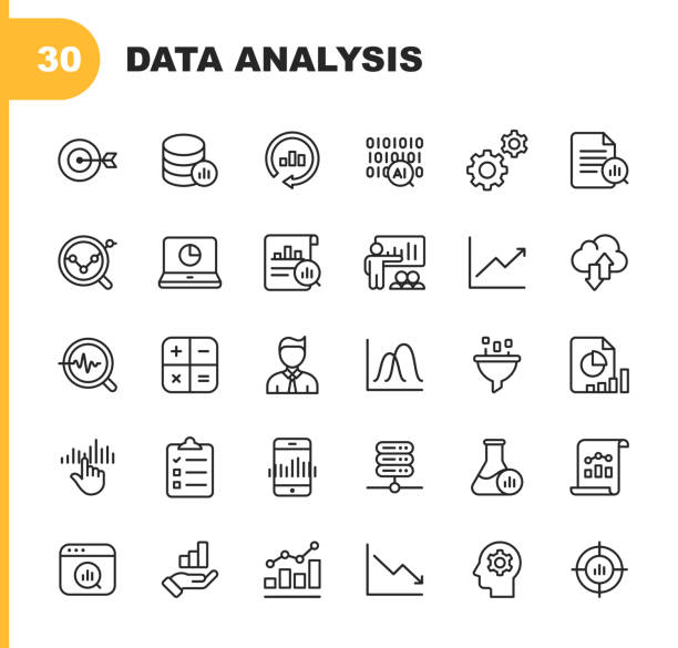 illustrazioni stock, clip art, cartoni animati e icone di tendenza di data analysis line icons. editable stroke. pixel perfect. for mobile and web. contains such icons as artificial intelligence, big data, cloud computing, chart, business analyst. - research