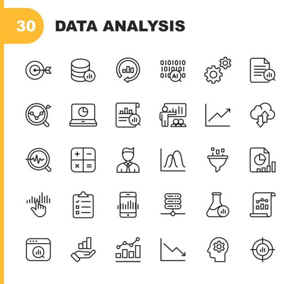 ilustraciones, imágenes clip art, dibujos animados e iconos de stock de iconos de línea de análisis de datos. trazo editable. pixel perfect. para móvil y web. contiene iconos como inteligencia artificial, big data, computación en la nube, gráfico, analista de negocios. - research