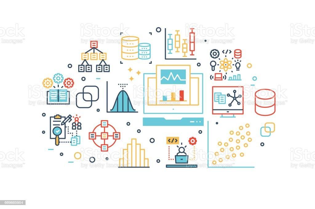 Data analysis line icons illustration vector art illustration