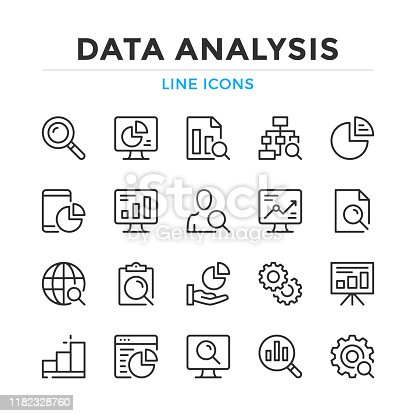 Data analysis line icons set. Modern outline elements, graphic design concepts. Stroke, linear style. Simple symbols collection. Vector line icons