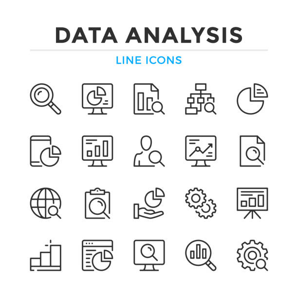 data analysis line icons set. modern outline elements, graphic design concepts. stroke, linear style. simple symbols collection. vector line icons - analizować stock illustrations