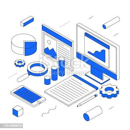 istock Data Analysis modern isometric line illustration concept 1254888828