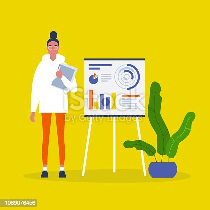 Data analysis. Optimization. Young female character presenting the research report. Flat editable vector illustration, clip art