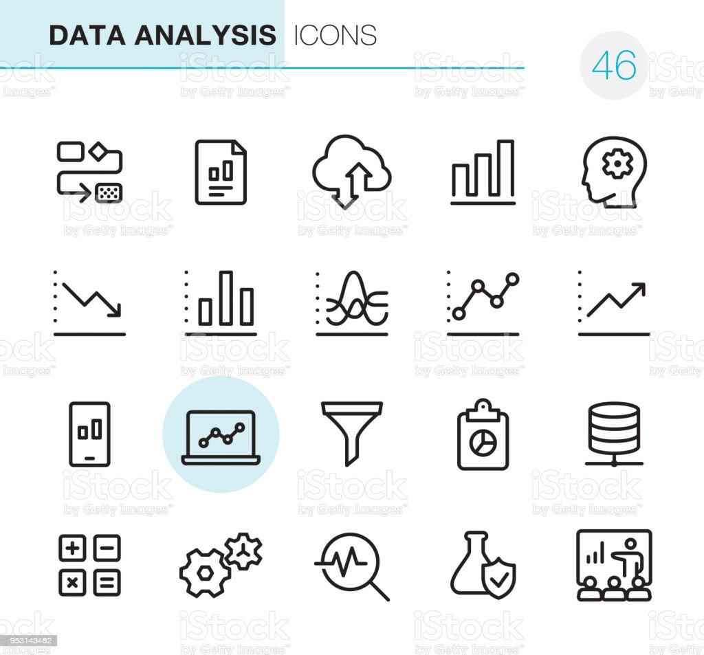 資料分析-圖元完美圖示 - 免版稅信息圖形圖庫向量圖形