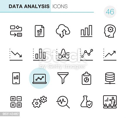 20 Outline Style - Black line - Pixel Perfect icons / Set #46 Icons are designed in 48x48pх square, outline stroke 2px.  First row of outline icons contains: Organization Chart, Financial Report, Cloud Computing, Bar Graph, Brainstorming;  Second row contains: Moving Down Chart, Bar Graph Chart, Dashboard Chart, Analyzing Chart, Moving Up Chart;  Third row contains: Mobile Phone and Graph, Laptop Chart, Separating Funnel, Clipboard and Pie Chart, Network Server;   Fourth row contains: Calculator, Gears icon, Magnifying glass and Chart, Flask and Check mark, Conference.  Complete Primico collection - https://www.istockphoto.com/collaboration/boards/NQPVdXl6m0W6Zy5mWYkSyw