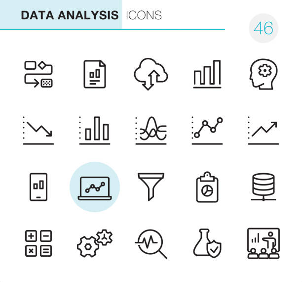 illustrazioni stock, clip art, cartoni animati e icone di tendenza di data analysis - pixel perfect icons - icona line