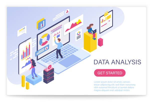 Data analysis process, big data concept 3d isometric vector illustration. People interacting with virtual screen charts and analyzing statistics. vector art illustration