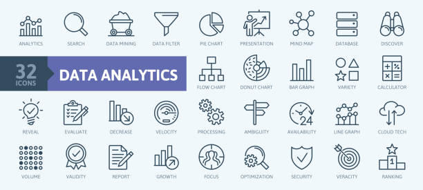 stockillustraties, clipart, cartoons en iconen met data-analyse, statistiek, analytics-minimale thin line web icon set. collectie met overzichts pictogrammen. eenvoudige vector illustratie - lijngrafiek