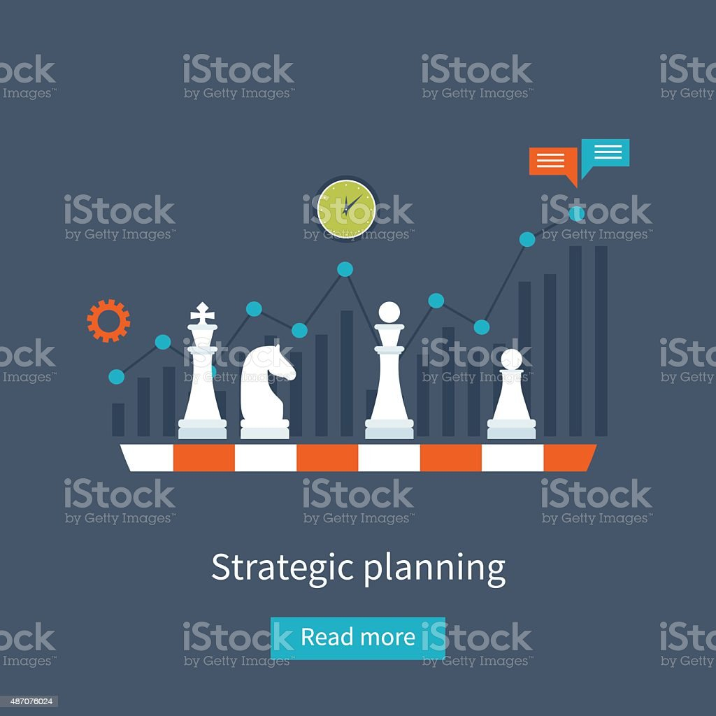 Data analysis, strategy planning vector art illustration